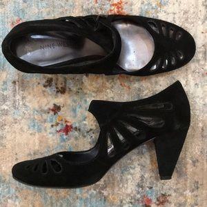 Nine West suede cutout heels